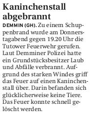 26.03.2011 Nordkurier – Demminer Zeitung Seite 16